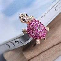 Dust Plug- Earphone Jack Accessories Crystal Lovely Pink Turtle/ Cell Charms / Ear Jack for Iphone 4 4s / Ipad / Ipod Touch / Other 3.5mm Ear Jack (With Cutely Gift Box)