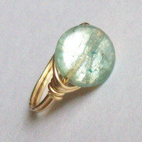 Extra Flashy Round Kyanite Ring petite Low Profile by MsRose