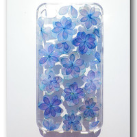 Handmade iPhone 4/4S case, Resin with Dried Flowers, Navy blue Hydrangea