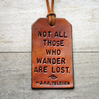 Single Custom Vertical Leather Luggage Tag by OfTheFountain