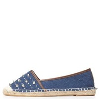 Blue Bamboo Rhinestone-Studded Espadrille Flats by Charlotte Russe