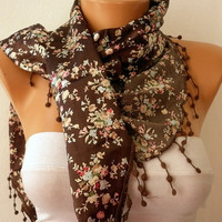 Women  Scarf  Headband Necklace Cowl with Lace  Brown by fatwoman/90481548/