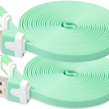 streer®2 Pack 10FTExtended Extra Long 8 Pin to USB Sync and Charging Cable Charger Power Cord for iPhone 6 6 Plus, iPhone 5 5s 5c, iPod Touch 5th, Nano 7th, and iPad 4 Air Mini (green)