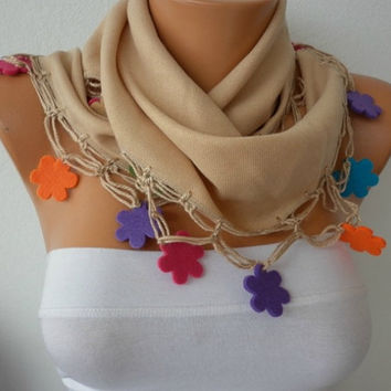 Beige Scarf  - Pashmina  Scarf -  Cowl with Lace Felt Colorful Flower Edge  -