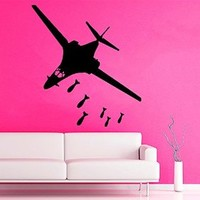 Wall Decor Vinyl Decal Sticker Plane Military Airplane with Bombs Weapon Aircraft Kids Nursery Room Living Room Home Interior Design D938