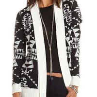 Aztec Open Cardigan Sweater by Charlotte Russe - Ivory Combo