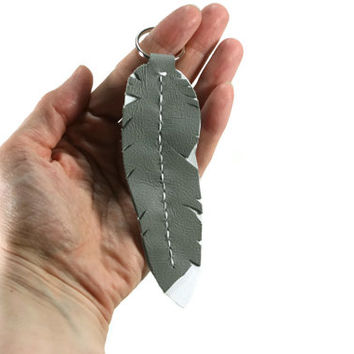 Grey Leather Feather Keychain - Leather Keychain - Larger Feather Keychain - Native American