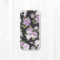 Purple Floral iPhone Case - iPhone 4 Case - iPhone 4s Case - iPhone 5 Case - iPhone 5s Case - Violet - Chalkboard - Black - Radiant Orchid