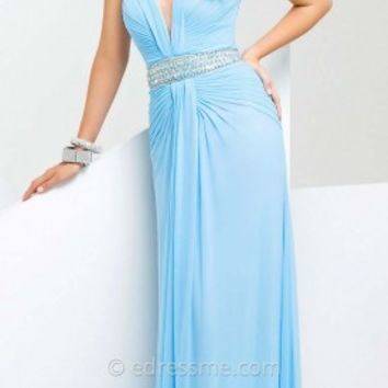 Pleated Halter Drape Prom Gown by Tony Bowls Paris