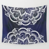 White Feather Mandala on Navy Wall Tapestry by Tangerine-Tane