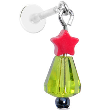 Handcrafted Christmas Tree Dangle Tragus Earring | Body Candy Body Jewelry