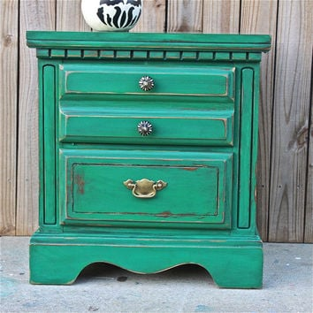 Green Nightstand/ Side Table/ Bedroom Furniture/ Living Room/ Storage/ TV Stand/