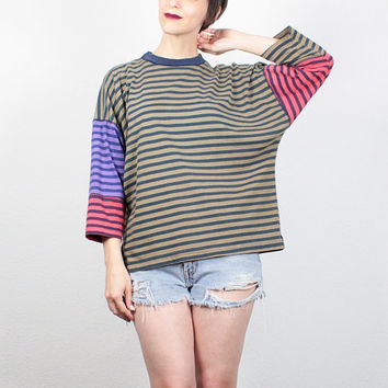 Vintage 80s Tshirt Mustard Pink Purple Striped T Shirt Loose Boxy Fit Saved By the Bell Patchwork Tee Mod New Wave Top M Medium L Large XL