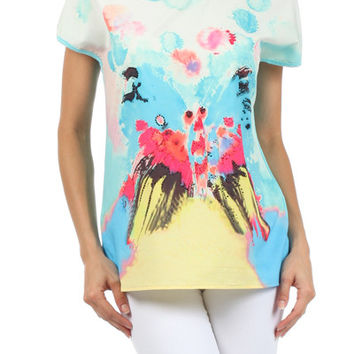 Rhinestone Embellished Butterfly Graphic Tee