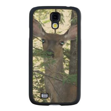 Forest Deer Carved® Maple Galaxy S4 Slim Case