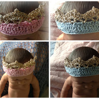 Baby infant newborn golden topped crown, photo prop, 1st birthday gift hand crocheted.