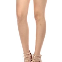 Nude Faux Patent Leather Studded Pointed Toe Single Sole Heels