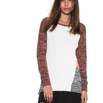 Charlie Knit Long Sleeve Sweater Zipper Coral Color Block One Grey Day