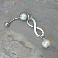 Infinity Belly Button Ring Jewelry with Pearl