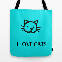 I LOVE CATS BLUE Tote Bag by catspaws