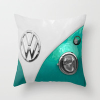 VW Split Screen in Teal Throw Pillow by Alice Gosling | Society6
