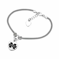 Buy Mississippi State Bulldogs Heart Bracelet With Sterling Silver Popcorn Chain Strap. College Jewelry