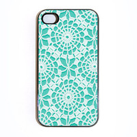 iphone 4 case with Vintage Lace 9  Choose Black Case by wallsparks