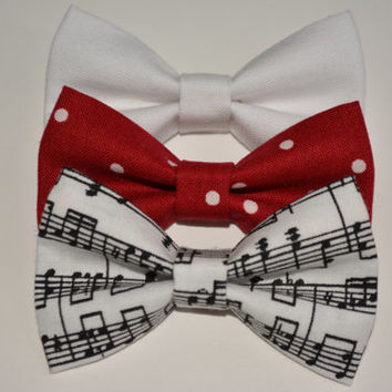 Set of three-hair bows, cute and small fabric bows, Red and White Polka Dots, Musical Note Hair Bow, Small White Hair Bow