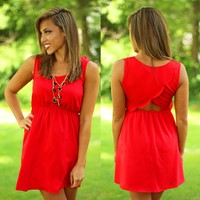 Scalloped So Sweetly Dress in Red