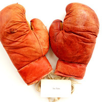 Vintage / Antique Leather Boxing Gloves, Youth Size (circa.1920s/1930s) - Collectible, Home Decor, Man Cave