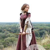 """Medieval renaissance custom flax linen dress """"Archeress"""" with chemise and corset"""