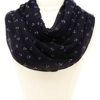 Anchor Print Infinity Scarf by Charlotte Russe - Navy