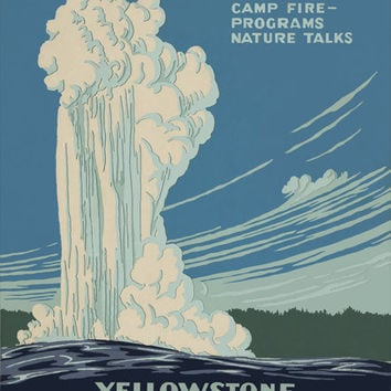 Yellowstone National Park Vintage WPA Poster on 9x12 PopMount Ready to Hang FREE SHIPPING