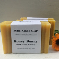 Honey Carrot, Honey Bunny skin soothe, gentle, local organic, carrot, honey, artisan soap, organic soap, unscented