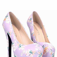 Floral Print Purple Design Woman's High Heel Shoes