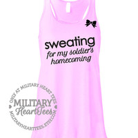 Custom Sweating for Homecoming Racerback Tank Top Military Shirt for Army, Air Force, Marines, Navy, Wife, Fiance, Girlfriend, Mom, Workout