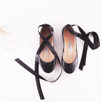 up-cycled soft leather ballet flats. classic black with long satin ribbon... made to order