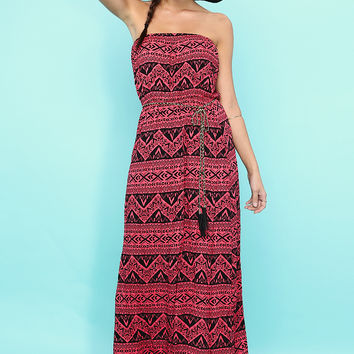 Chain Belted Geo Pattern Maxi Dress