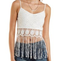 Crocheted Lace & Fringe Crop Top by Charlotte Russe