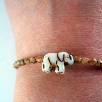 Lucky Elephant Beaded Wire Wrapped Bracelet by PZWDesign on Etsy