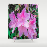 Pink Flowers in the Sun Shower Curtain by Gwendalyn Abrams