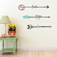 Freedom arrow wall decal, inspirational wall sticker, wall graphic , living room decal, bedroom decal, vinyl decal, vinyl graphic decal