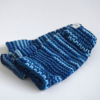 one of a kind wool-free wristwarmers-- the condyle in variegated indigo, cobalt, and light sky blue