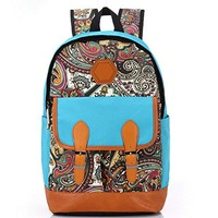 Canvas Bookbag Daypack Backpack Laptop Bag for School College Teens Girls Boys Students, Pattern A