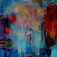 """Abstract Painting Large Canvas Colorful Acrylics """"Eyeing the Cup"""""""