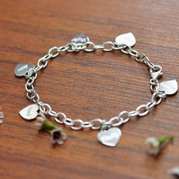 Sterling Silver Personalized Charm Bracelet with by SincerelyMePJD