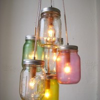 Pretty Pastels Mason Jar Chandelier Light Cluster by BootsNGus