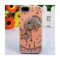 i-Jew Series Shining Rhinestones Case for iPhone 5 Case (Indian Elephant Body Jewelry on Case) *** Coral Color Case ***