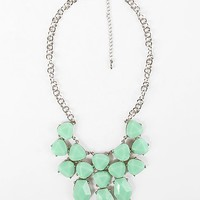 Women's Chunky Stone Statement Necklace in Green/Silver by Daytrip.