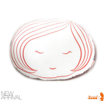 Limited Edition Girl Face Plush Pillow in Coral Pink Print